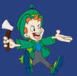 Angry Lucky Leprechaun with his hatchet