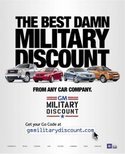 GM proudly offering discounts on their cars for the military