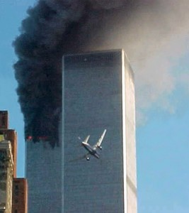 United Flight 175 seconds before impact into the South Tower