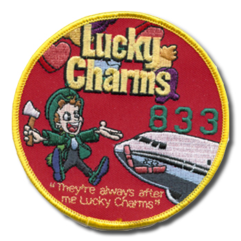 Lucky Charms - Lucky Charms commemorative patch created after Irish peace protesters vandalized a C-40 twice at the Shannon airport (represented by two band-aids)